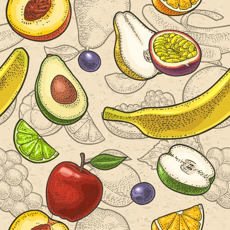 Set tropical fruits. Vector engraving on craft paper texture