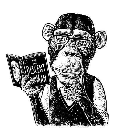 Hipster mono está leyendo un libro. Grabado negro vintage