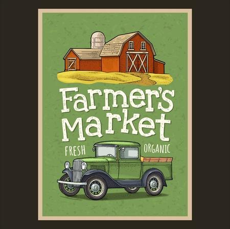 Retro pickup truck and hangar engraving. Handwriting lettering Farmers market 矢量图像