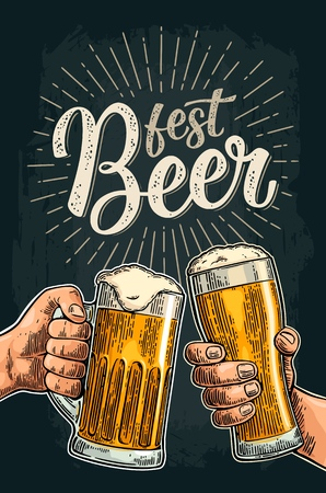 Two male hands holding and clinking glass and bottle. Beer Fest calligraphic handwriting lettering. Vintage vector color engraving illustration for invitation. Isolated on dark background.