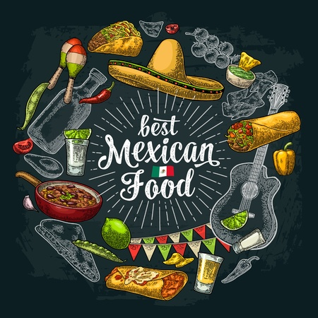 Circle shape set mexican food engraving illustration on dark Illustration