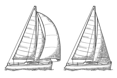 Due yacht a vela. Barca a vela. Illustrazione piatta disegnata vettoriale
