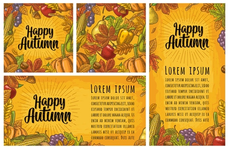Seamless pattern and poster leaf, chestnut, fruits, vegetables. Happy Autumn