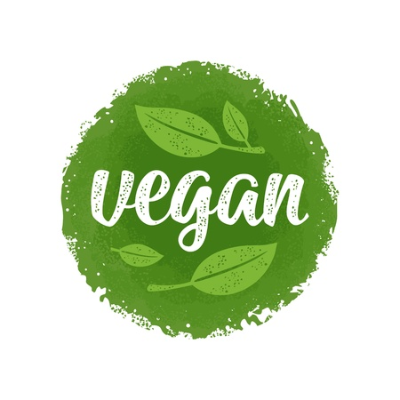 Vegan calligraphic handwriting lettering with leaf. Vector beige vintage illustration isolated on dark green circle sticker. Ilustração