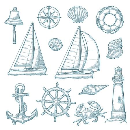 Ancla, rueda, velero, rosa de los vientos, concha, cangrejo, grabado de faro Ilustración de vector