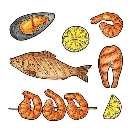 Set BBQ. Whole and steak fish, oyster, shrimp, lemon. Engraving