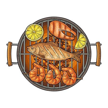 Barbecue au charbon de bois, huîtres, crevettes, citron, poisson. Gravure d'époque