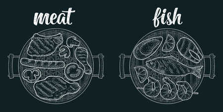 Barbecue grill top view with charcoal, tomato, pepper, onion, kebab, sausage, chicken, charcoal, oyster, shrimp, lemon, beef and fish steak. Vintage white vector engraving on dark background Archivio Fotografico - 123793313