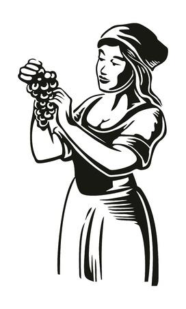Les femmes récoltent les raisins dans le vignoble. Illustration de gravure de vecteur vintage noir pour étiquette, affiche, icône, conception de sites Web.