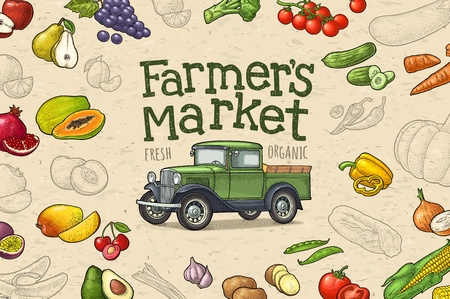 Retro pickup truck, fruit and vegetable engraving. Lettering Farmers market Illustration