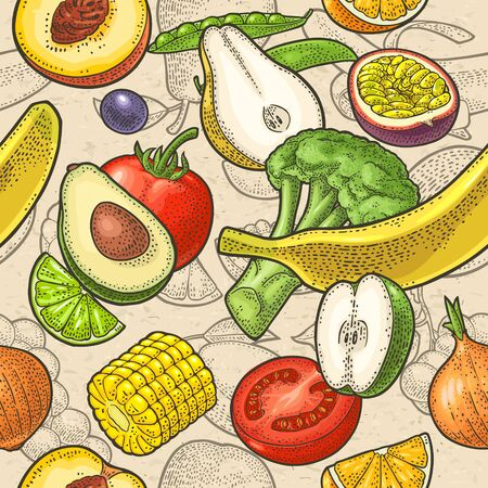 Seamless pattern fruits and vegetable. Vector engraving on craft paper