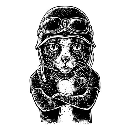 Cat with crossed paws dressed in the helmet and glasses. Vector vintage engraving