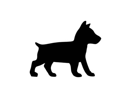 Puppy basenji. Vector black flat icon isolated on white Ilustracja