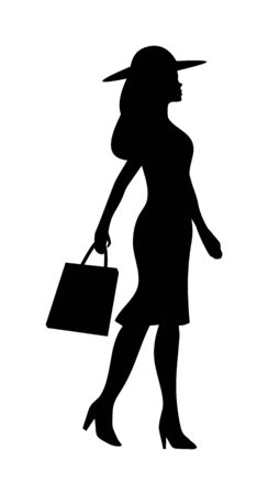 Woman holding handbag. People walking silhouette. Vector black flat icon