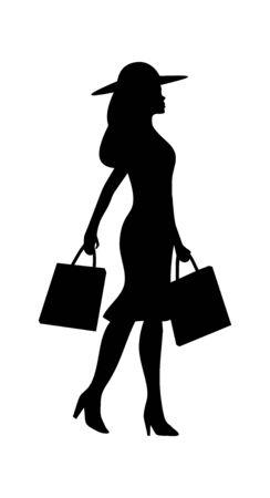 Femme tenant le sac à main. Personnes marchant silhouette. Icône plate de vecteur noir