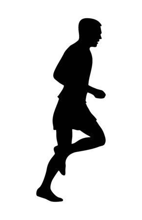 Runner silhouette. Side view. Vector black icon isolated on white Illustration
