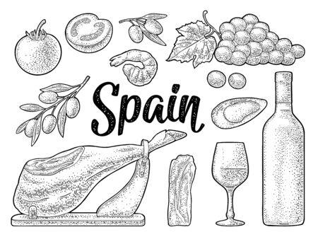 Spain traditional food set. Vector vintage black engraving