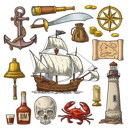 Définir l'aventure des pirates. Gravure vintage de couleur de vecteur Vecteurs