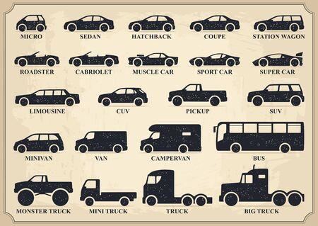 Car type icons set. Vector black vintage illustration Illustration