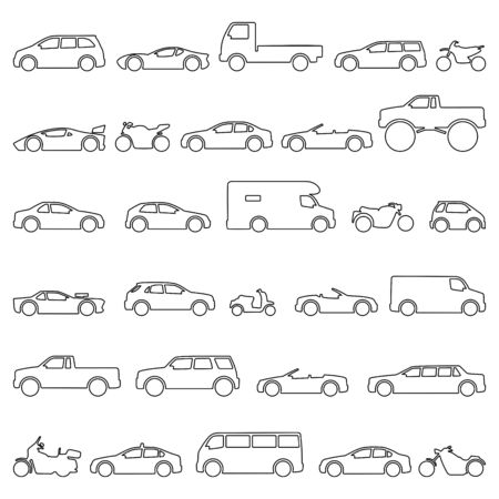 Car and Motorcycle type icons set. Title models moto and automobile Illusztráció
