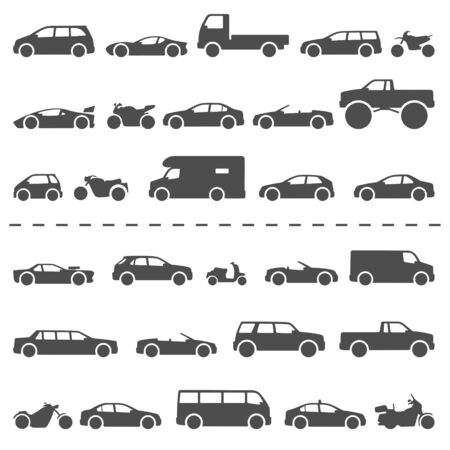 Car and Motorcycle type icons set. Title models moto and automobile Illustration