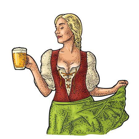 Young sexy Oktoberfest woman holding beer mug. Vintage vector engraving