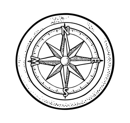 Compass rose isolated on white background. Vector vintage engraving illustration.