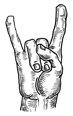 Rock and Roll hand sign. Vector black vintage engraving.