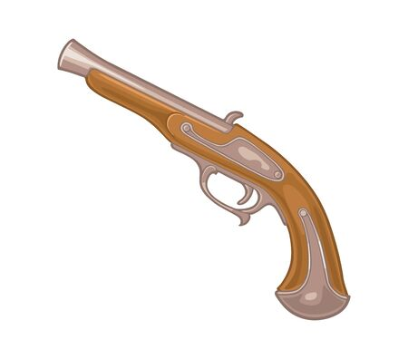 Flintlock pirate antique pistol. Vector color flat icon.