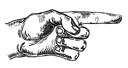 Pointing finger. Hand sign for web, poster, infographic
