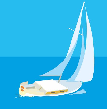 Blue sea with yachts. Vector flat Illustration. Ilustração