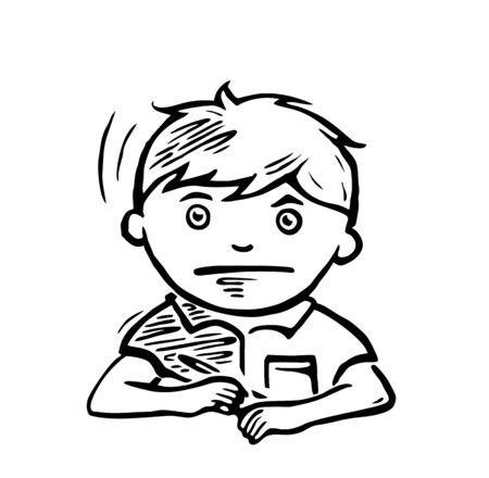 Schoolboy with a pen in his hand thinks over a task. Vector black illustration.