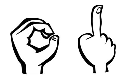 Pointing finger. Number one and zero hand sign. Vector black  illustration isolated on a white background. Hand sign for web, poster, info graphic.