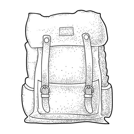 Hipster tourist backpack. Front view. Vector black vintage engraving illustration. Isolated on white background. Lettering adventure. For camping company logotype, poster and label.