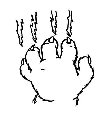 Cat claw scratching scrape track. Vector black vintage illustration