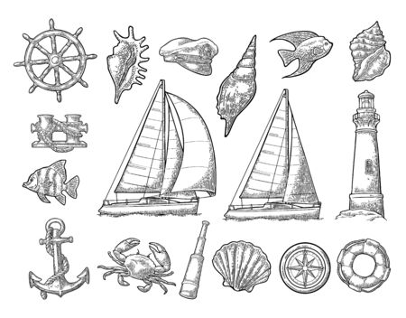 Anchor, wheel, sailing ship, compass rose, spyglass, lighthouse engraving