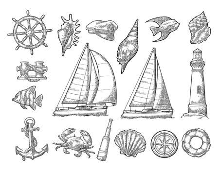Anchor, wheel, sailing ship, compass rose, spyglass, lighthouse engraving