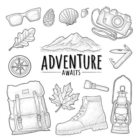 Travel set for outdoor recreation. Vector vintage engraving