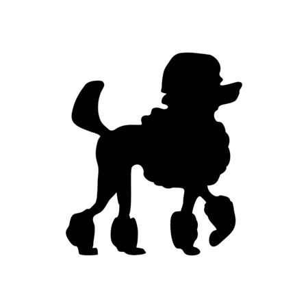 Poodle icon. Dog standing silhouette. Vector illustration isolated on white