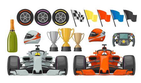 Set race flat icons. Helmet, champagne, cup, flag. 일러스트