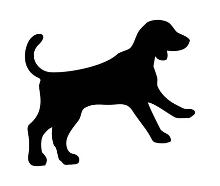 Beagle icon. Dog jump silhouette. Vector illustration isolated