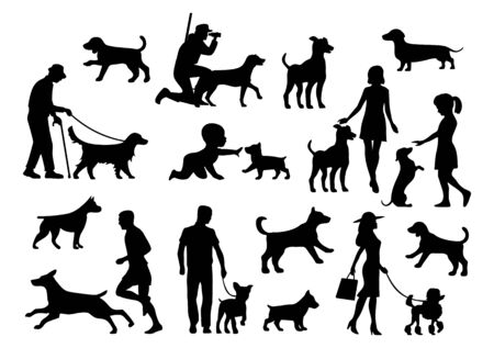 Set dog and people silhouette. Vector black flat icon