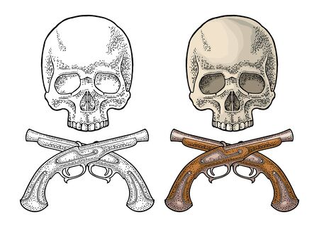 Skull and crossed pirate flintlock pistol. Vintage vector black engraving