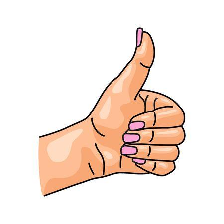 Female hand showing symbol like isolated on a white background.