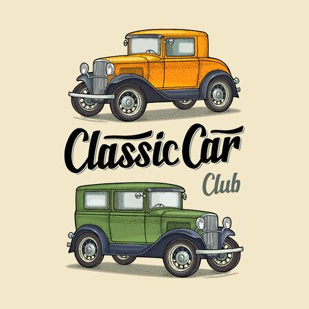 Retro sedan. Side view. Classic Car Club lettering. Engraving
