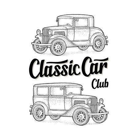 Retro sedan. Side view. Classic Car Club lettering. Engraving