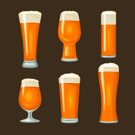Different types beer glasses. Vector color flat icon. Isolated on black background.
