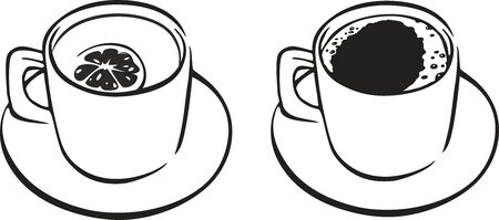 Set icon with cups of coffee and tea on white background.