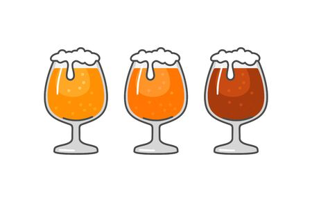 Glass with different types beer  , Vintage vector flat illustration. Isolated on white background. For emblem, web, info graphic
