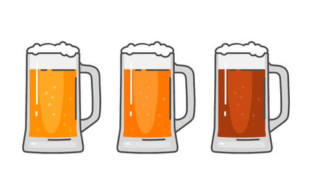 Glass with different types beer - lager, ale. Vintage vector flat illustration. Isolated on white background. For emblem, web, info graphic Illustration